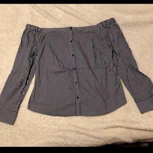 Off Shoulder Striped Shirt